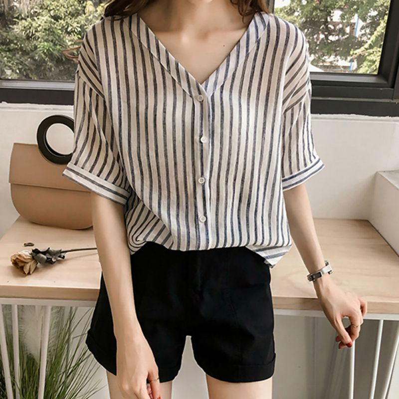 Women Batwing Sleeves Blusas V Neck Striped Blouse Womens Tops Three Quarter Blouses Casual Summer Blouse Shirt Plus Size 4XL