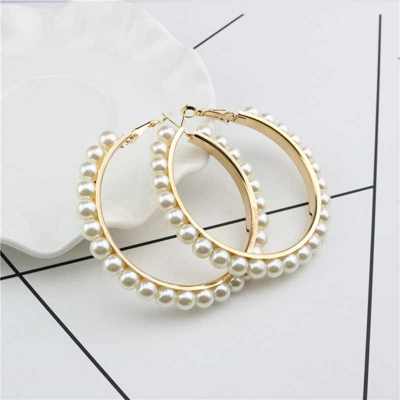 1 Pair New Arrival Women Girls Jewelry Hoop Earring Black White Pearl Earring with Stainless Steel Pin Big Circle Loop Earrings