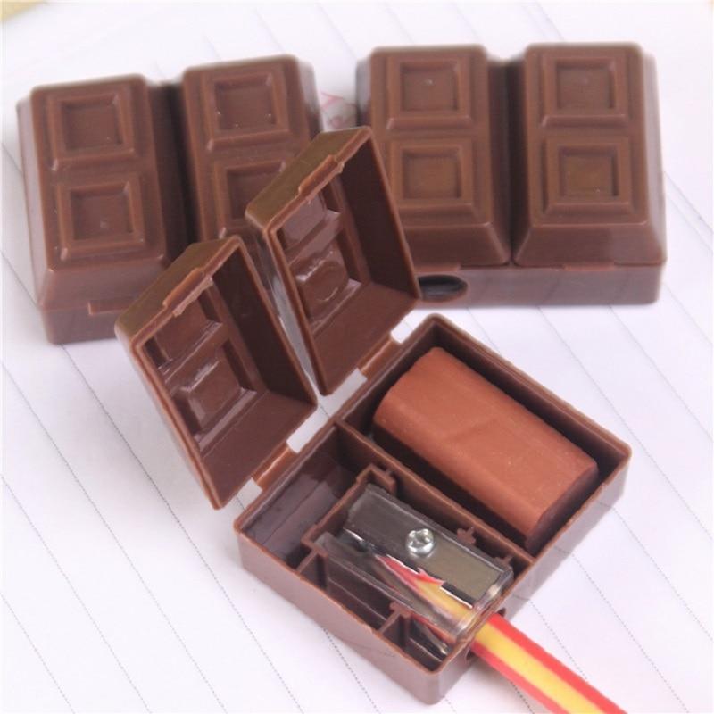 Creative Chocolate Pencil Sharpener With Eraser For Kids Students Kawaii Plastic Sharpener Stationery Set School Office Supplies