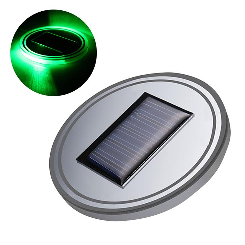 Solar Powered LED Car Cup Holder Mat Pad Drink Bottle Coaster with Built-in Light and Vibration Sensor Car Interior Decoration
