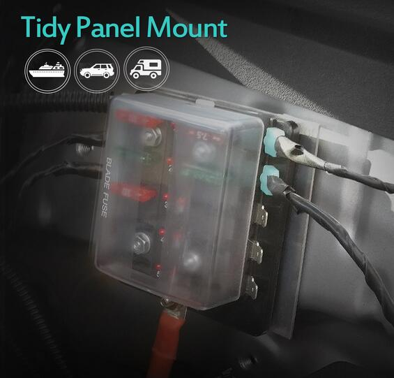 Image 3 - Jtron 6 way/10 Way Blade Fuse Box Holder with LED Warning Light for Car Boat Marine Trike 12V 24V M size-in Fuses from Automobiles & Motorcycles