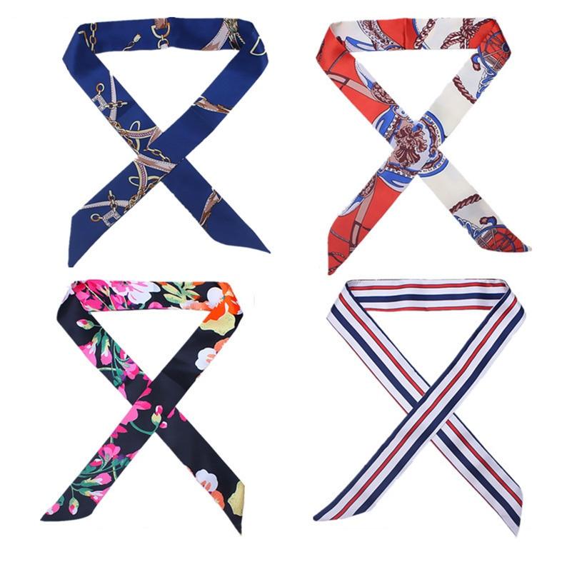 Skinny Scarf 4*100cm Fashion Print Narrow Women Scarves Handle Bag Ribbons Female Headscarf Retro Hair Tie For Lady Necktie Belt