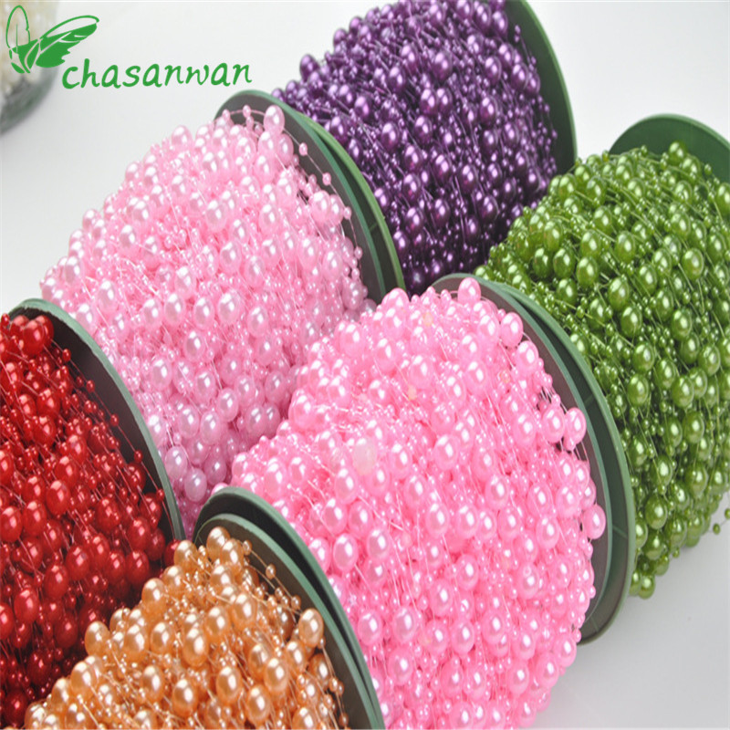 NEW 5 Meters Fishing Line Artificial Pearls Beads Chain Garland Flowers Bridal Tiara Wedding Decoration Event Party Decoration.Q image