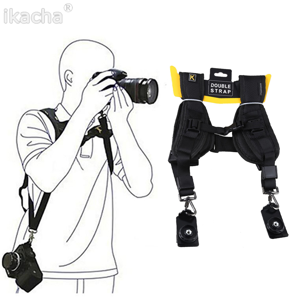 Black Double Dual Camera Shoulder Strap Quick Rapid Sling Belt Adjustment For Canon Nikon Sony 2 Cameras Digital DSLR Strap