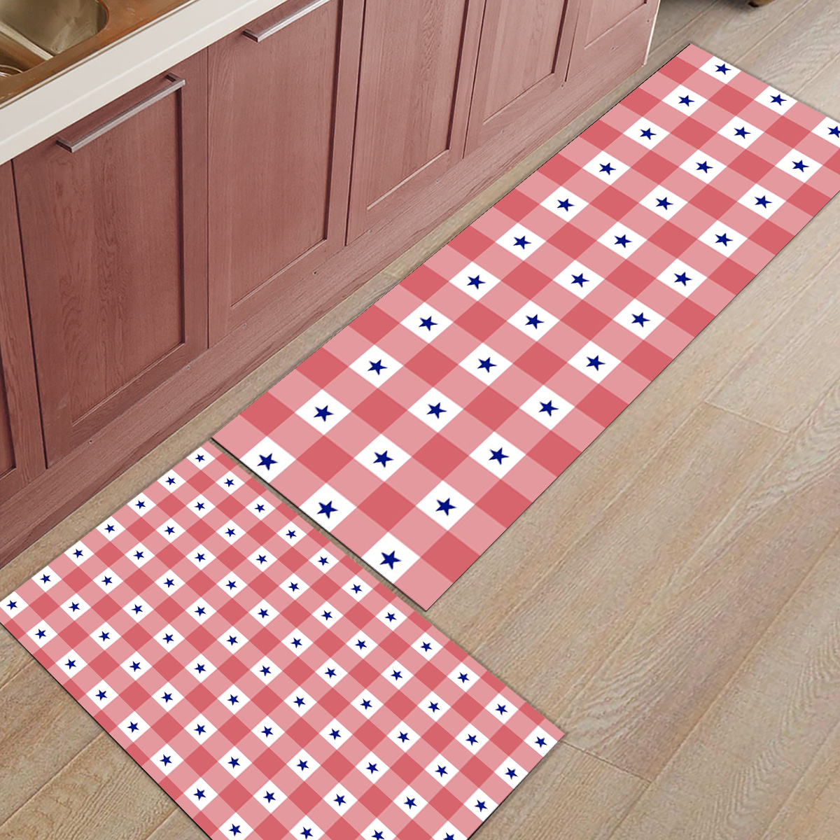 Nordique joyeux noël rouge et blanc Plaid 2 pièces tapis de cuisine paillassons pour entrée manière salle de bains accessoires Set saleté débris