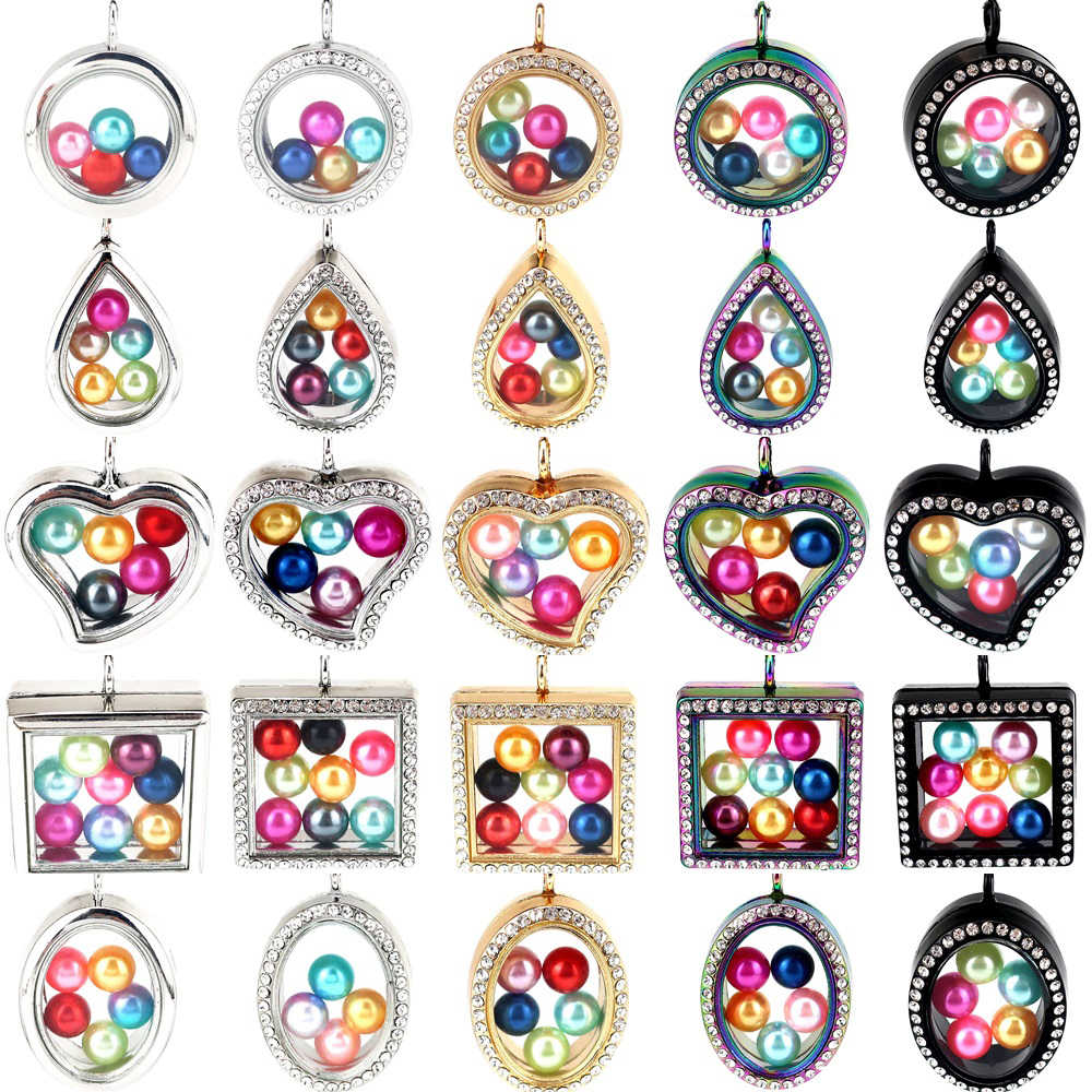 Glass Pendant 20'' Steel Chains Necklace Floating Charms Rhinestone Locket Memory Photo Lockets Necklace