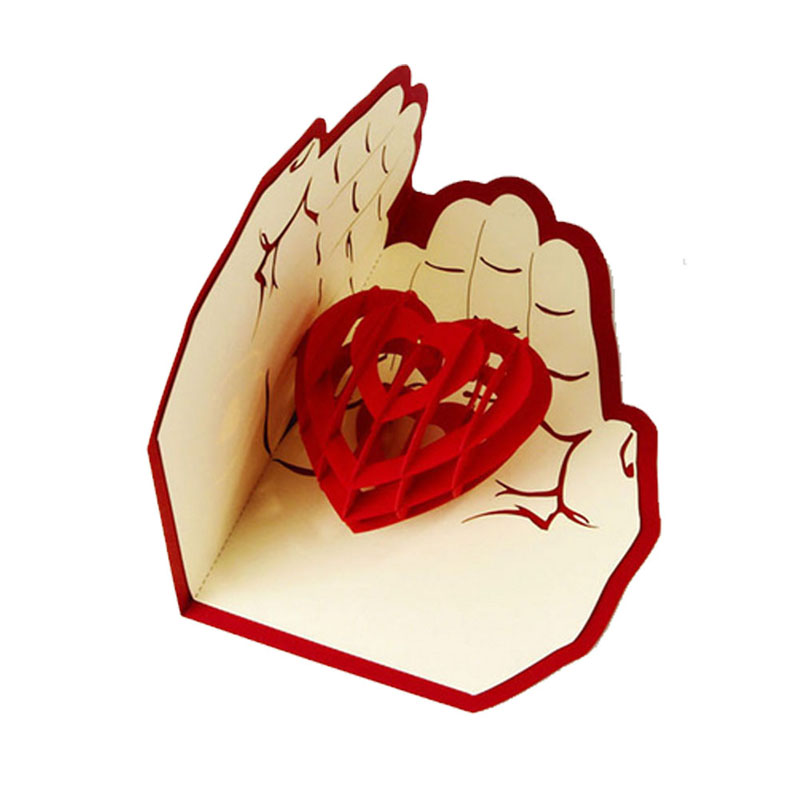 3D Pop Up Greeting Card Love In Hands Birthday Good Luck