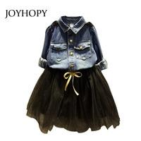 New Spring Autumn Kids Girls Clothes Dresses Girls Denim Blouse Shirt Tutu Dress For Girls Casual