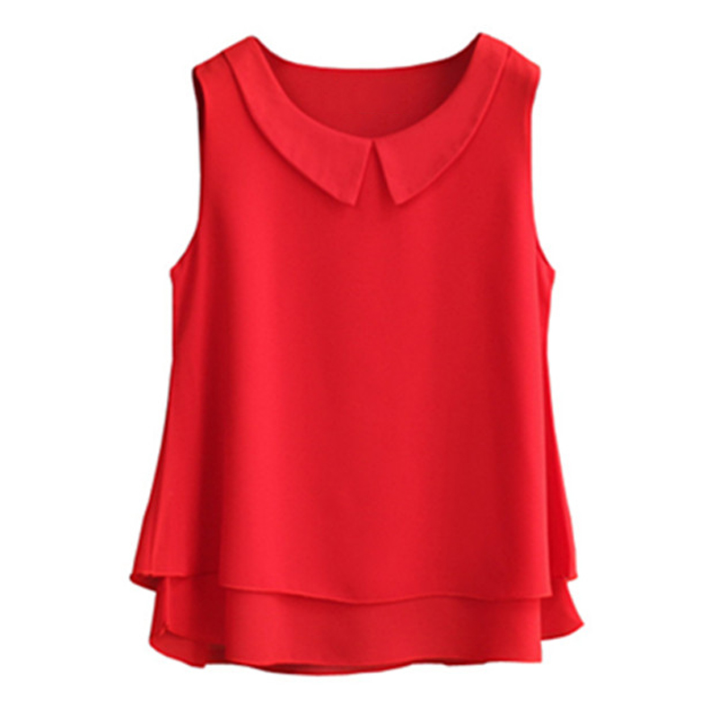 Women's blouses 2019 New sleeveless Peter pan Collar shirt For Women Chiffon Blouse  Summer Casual Plus size 5XL Female Tops