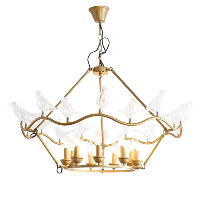 Luxury Chandelier Lighting Copper Traditional 8 Bird Hanging Lamp Creative Gl Suspendsion Light Dining Room