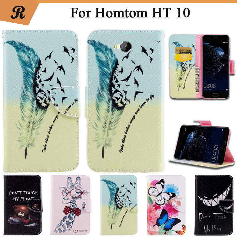 Painted Wallet Flip Case For <font><b>Homtom</b></font> HT <font><b>10</b></font> PU leather Card Slot Stand bag High Quality Cover fundas with Strap image