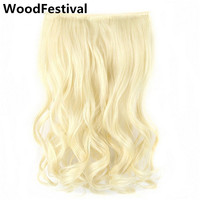 5 Clips In Hair Extension Pony Tail Blonde Extensions Wavy Heat Resistant Long Clip Synthetic Hairpiece