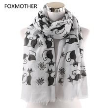 FOXMOTHER New Vintage Pink White Cat Foulard Femme Animal Scarves For Lover Mother Gifts Scarfs Dropshipping