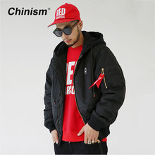 CHINISM Zip Sleeve Ribbon Hooded Parkas Mens Red Black Pocket Loose Coats Jackets Brand Logo Embroidery Thick Fashion Parkas