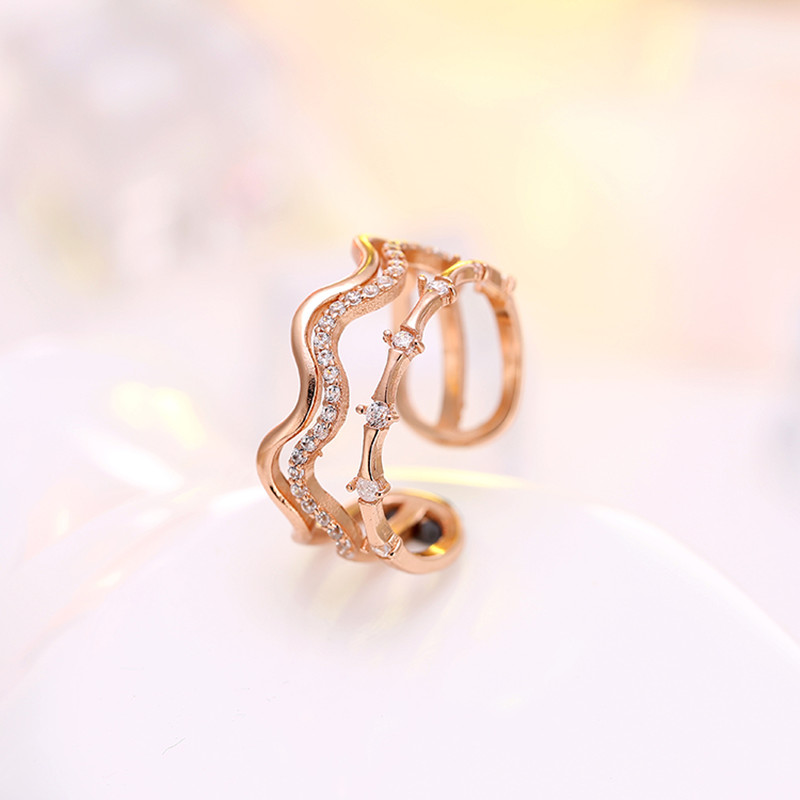 Hot Sale Wholesale 2017 New Fashion Design Jewelry Shiny Crystal 925 Sterling Silver Ladies`Adjustable Size Finger Rings Gift