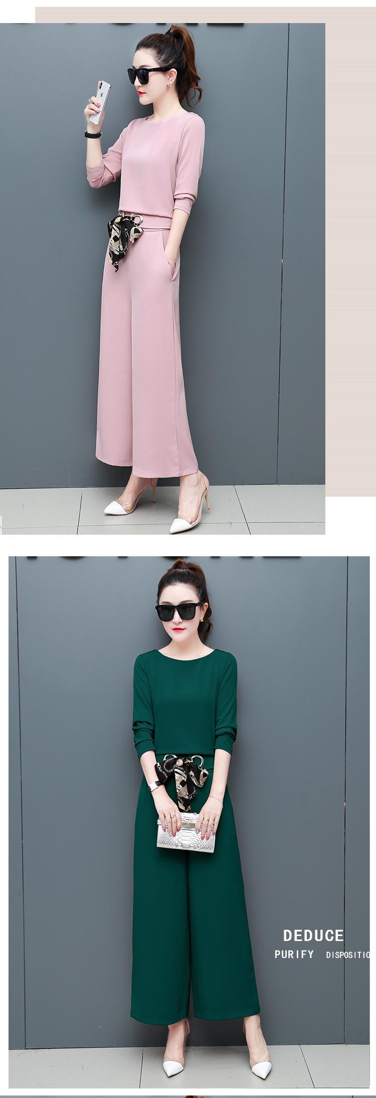 Chiffon 2 Piece Set Women Long Sleeve Tops And Wide Leg Pants Trousers Set Suits Spring Autumn Casual Office Elegant Women's Set 14