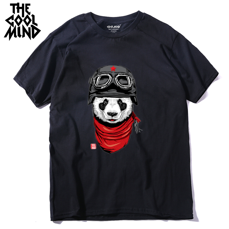 COOLMIND QI0428A 100% cotton short sleeve pilot panda men   T     shirt   casual coo summer men Tshirt male loose   t  -  shirt   tees LMYX