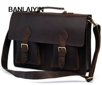 Vintage Genuine Leather Briefcase Men Briefcase Leather Laptop Bag Male Business Bag Portfolio Men Porte Document Brief Case