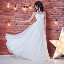 2019 Chiffon Lace up Wedding Dresses A-Line Sweetheart Neck Elegant Bridal Gowns Backless Wedding Dress vestidos de noiva Custom