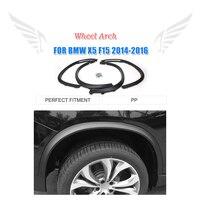4PCS/set PP Black car fender flares for BMW F15 X5 2014 2016 Wheel Arch Molding Trims