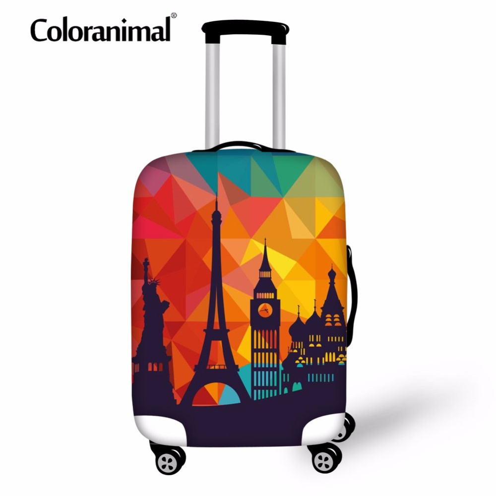 Coloranimal 3D Eiffel Tower Print Suitcase Accessories Travel On Road Luggage Cover Zipper Suit For 18-30 Inch Protect Case Bag