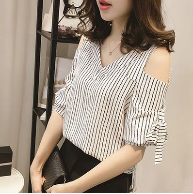cf78861e599 US $21.05 |Fashion Summer Women's Chiffon Striped Off Shoulder Blouses for  Party Ladies Tops with Bowknot Sleeve Pink White XS S M B8E-in Blouses & ...