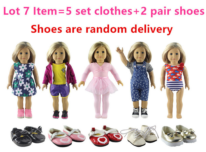 New Style 5 Set Doll Clothes+2 Pair Shoes for 18 Inch American Girl Handsome Casual Wear new style 10 set doll clothes for 18 inch american girl handmade casual wear