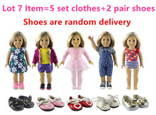 New Style 5 Set Doll Clothes+2 Pair Shoes for 18 Inch American Girl Handsome Casual Wear