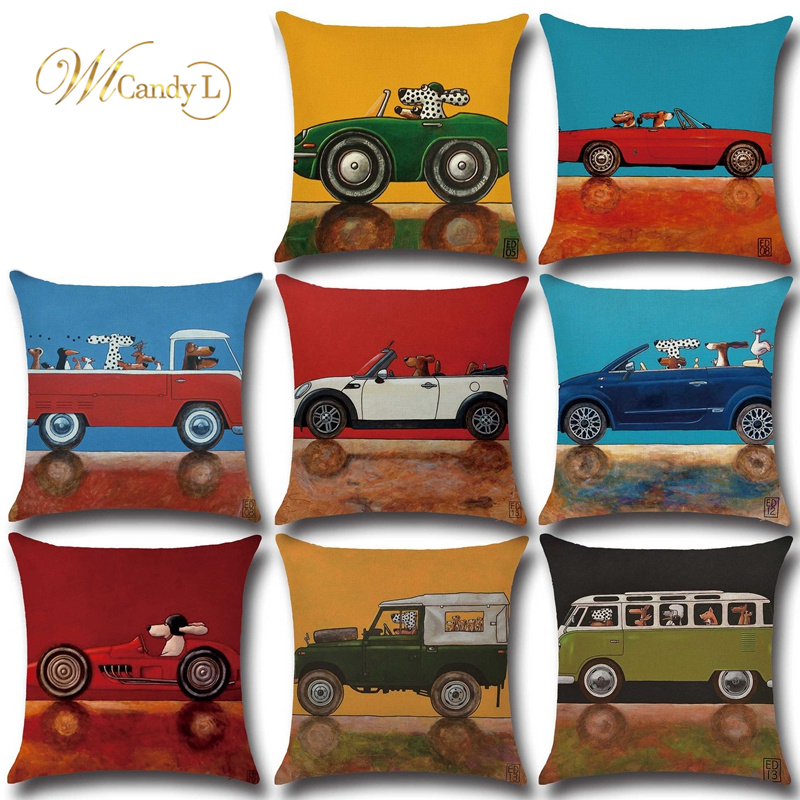 WL Candy L New Lovely Cartoon Dog Driving Car Cushion Cover Vintage Almofadas 45X45CM Beige Linen Pillow Cover Decor