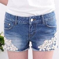 YGYEEG Ren Hoa Beading Phụ Nữ Rửa Jeans Denim Shorts Đinh Tán Trang Trí Mùa Hè Fashion Lady Short Quần Quần Chất Lượng Cao