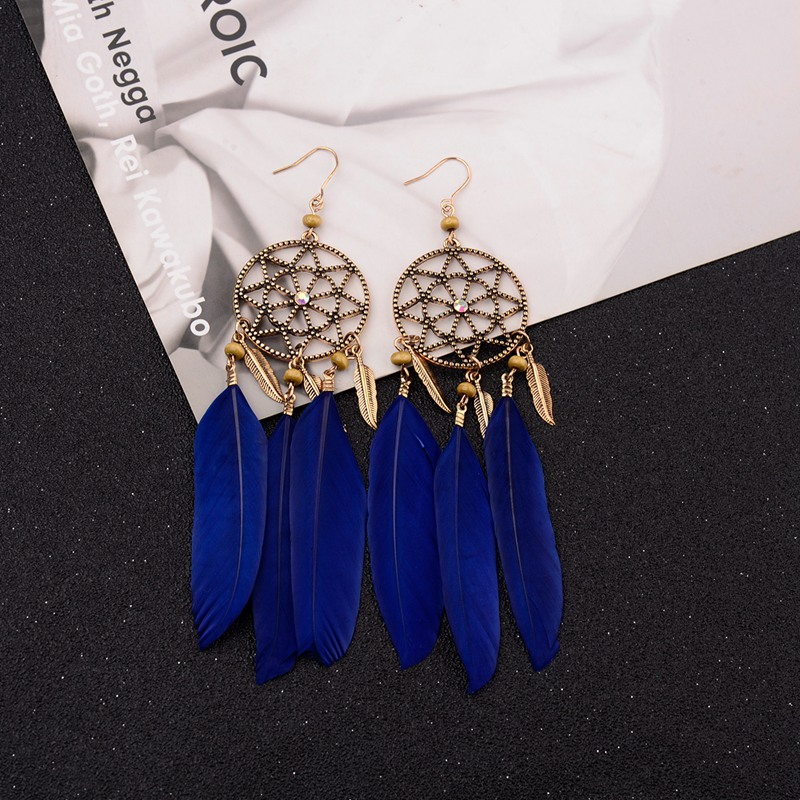 Boucles d'Oreilles Attrape Rêves Nature Bleu bijoux femme tenue unique style chic et bohème turquoise belle or massif style indien amérindienne capteurs de rêves