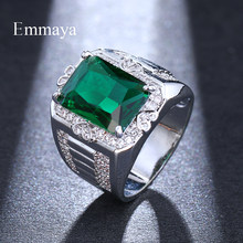 Emmaya Luxury Full Crystal Big Green Stone AAA Cubic Zirconia Rings For Men And Women Male Metal Plated Zircon Ring(China)