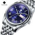 Fecha Día Acero Inoxidable Relojes Luminosos Horas Reloj Vestido de Los Hombres Reloj de Cuarzo Ocasional Pulsera Del Deporte 2016 Nuevos hombres de la Marca reloj