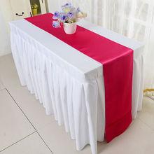 Satén decoración mesa de boda corredor Mesa moderna satinada bandera para el Festival de Pascua Vintage barato oro plata satén corredor