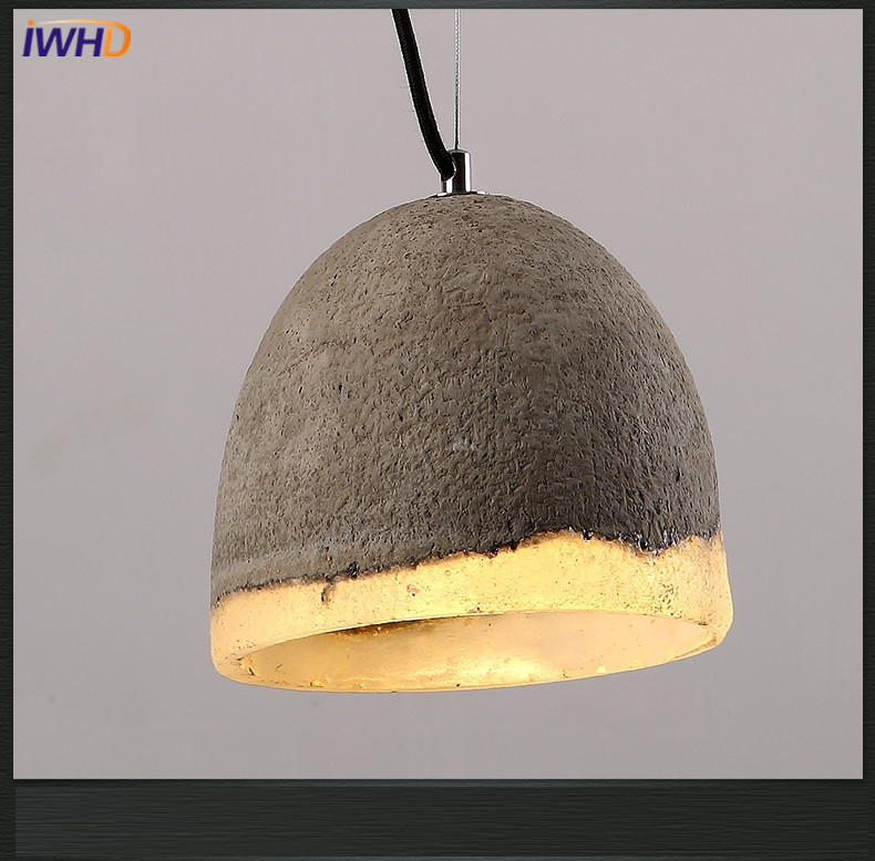 IWHD Vintage Industrial Lighting Pendant Lights Fixtures Loft Retro Cement Hanging Lamp Light Kitchen Restaurant Luminaire american retro pendant lights luminaire lamp iron industrial vintage led pendant lighting fixtures bar loft restaurant e27 black