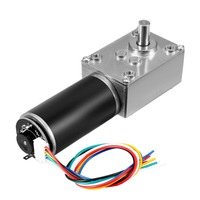 UXCELL DC 24V 222RPM 8Kg.cm Self Locking Worm Gear Motor With Encoder And Cable Silver Tone High Quality