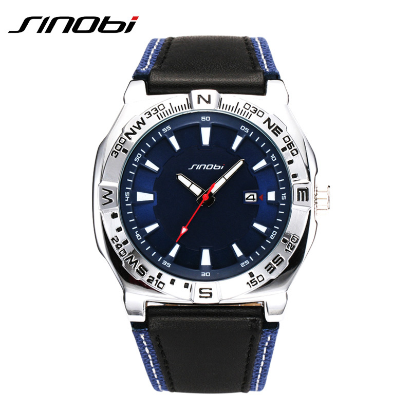 SINOBI Original Multifunction Compass Watch Top Brand Men Watches Genuine Leather Band Wrist watches For Men Sport  Relojes 2017 sinobi original vogue new design wrist watches for men dress office waterproof men watch travel factory directly sale relojes