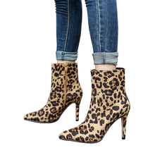 Women Leopard Boots High Heels Ankle Boots Sexy Pumps Pointed Toe Warm Winter Shoes Thin Heels Fashion Boots Plus Size 34-42
