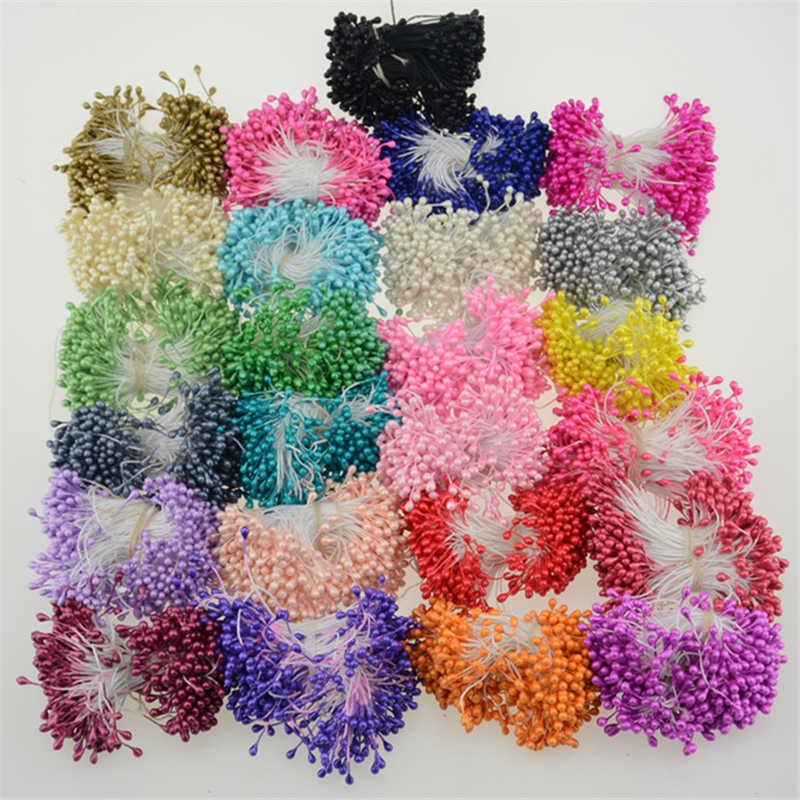 300 pièces Multi couleurs perle étamine sucre fait à la main fleur artificielle pour décoration de mariage bricolage 3mm étamines Pistil Floral