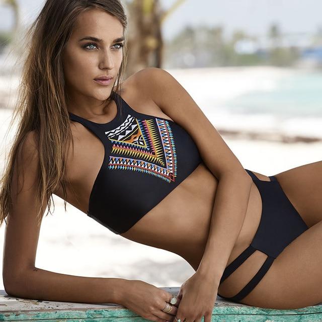 Beroemd 2016 nieuwe mode vrouwen bikinis hoge hals push up bikini set #NV17