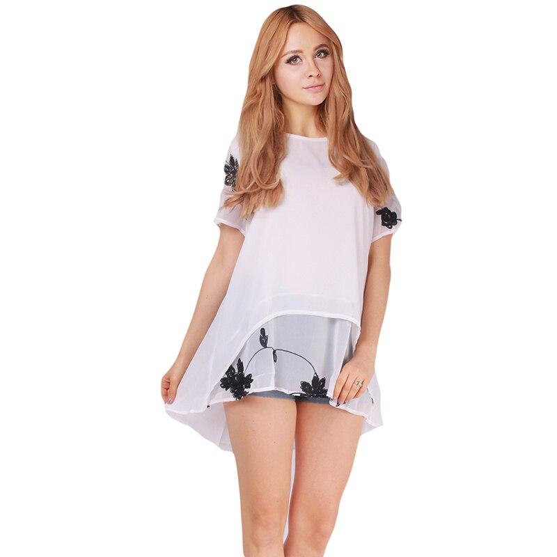 Summer Chiffon T-shirts Embroidery Short Sleeve O-neck T Shirts Casual Women Clothing Plus size Blusa Feminina IU861677
