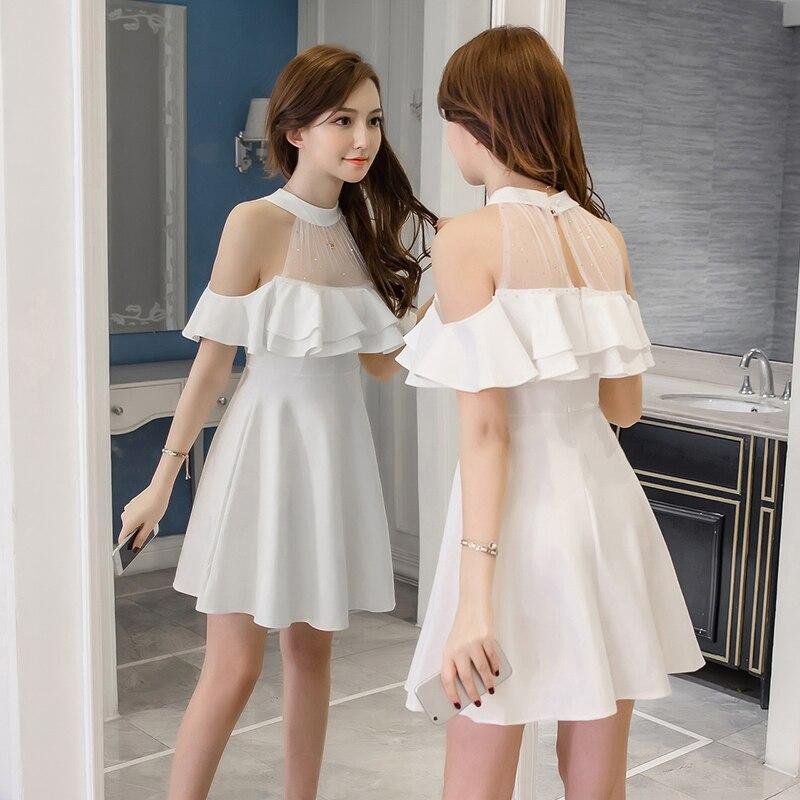 Elegant Simple Black Dress Women Mesh Sequins Ruffles Off Shoulder Summer Dress White S XXL Korean Sexy Robe Femme Drop Shipping in Dresses from Women 39 s Clothing