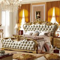 Высокое качество современной европейской натуральная кожа французская кровать king size Роскошные p10078