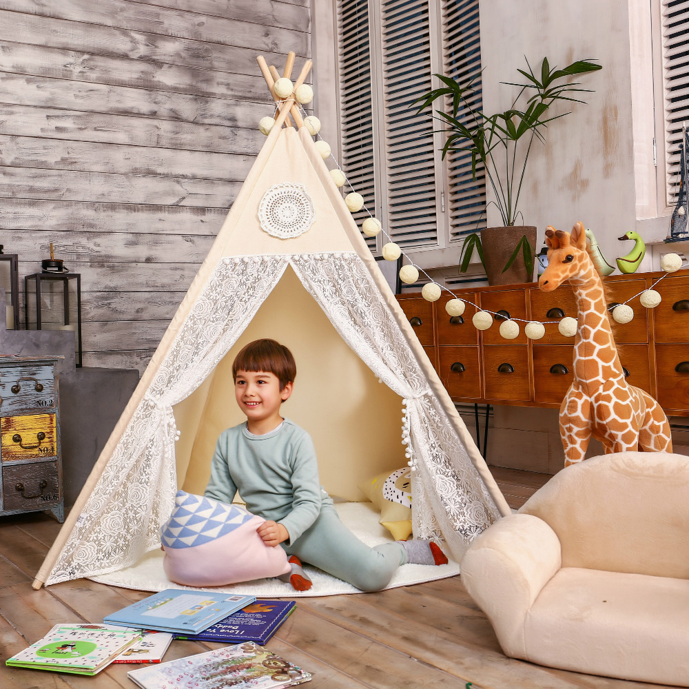 LoveTree Canvas Teepee Canopy Tent Playhouse Kids toy teepee tent Play room Indoor outdoor tourist game room teepee foldable kid indoor tent kids outdoor playhouse children kids tent toys play tent game house indian teepee