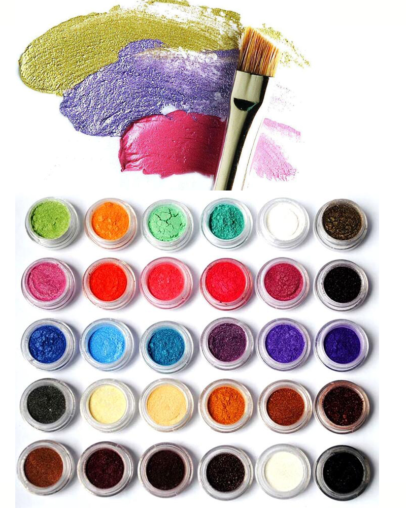 10ml jar 24colors Mica Powder Pigments Natural Pearlescent Mica Powders Metallic Dye For Nail Cosmetic Polish Soap Making in Nail Glitter from Beauty Health