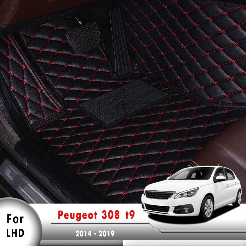 Cuir Auto couvre-pied accessoires internes LHD tapis de sol de voiture pour Peugeot 308 t9 2014 2015 2016 2017 2018 2019