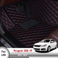 Leather Auto Foot Pad Cover Internal Accessories LHD Car Floor Mats For Peugeot 308 t9 2014 2015 2016 2017 2018 2019