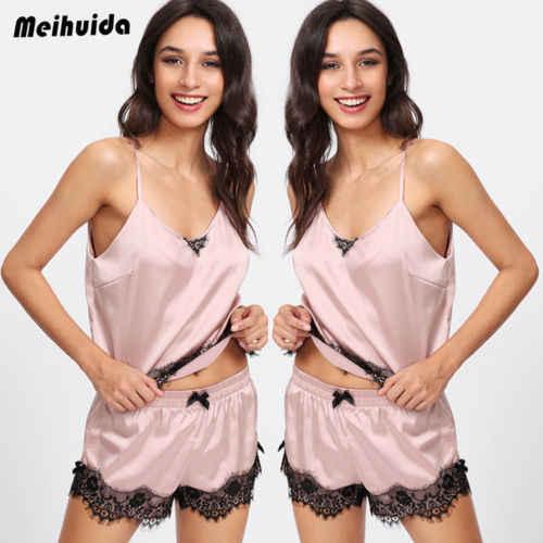 ... Women Sexy Pyjamas Set Nightwear Ladies lace Tops Shorts PJs Silk Satin  Loungewear Pink Sleepwear ... 2025a0263