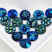 Новые модные кабошоны из смолы с плоской задней поверхностью в цветочном стиле, 40 шт., 12 мм, смешанные Синие Цвета