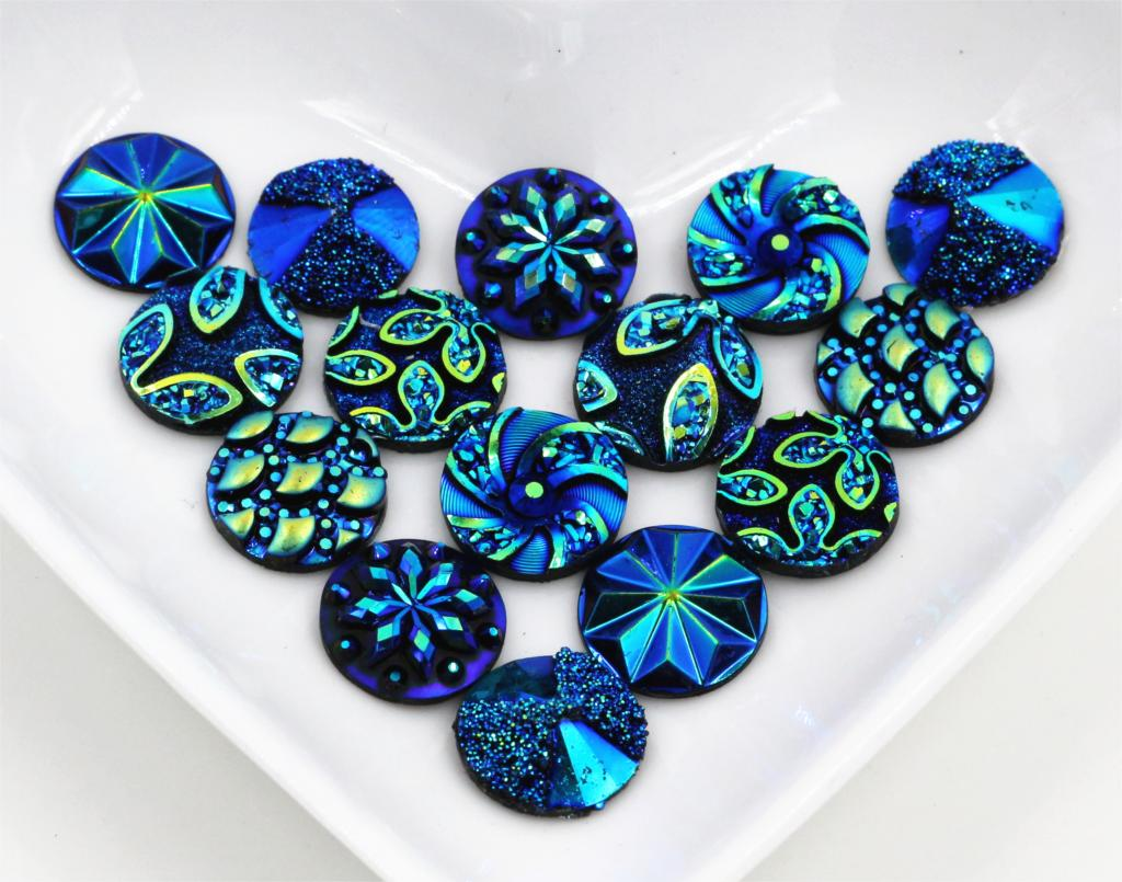 New Fashion 40pcs 12mm Mix Blue Colors Flower Style Flat Back Resin Cabochons Cameo